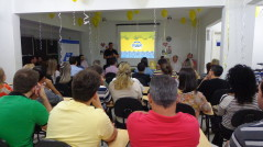 O Vice- presidente de Eventos, Planejamento e Projetos, Altemir Marini, fez a apresentação da Campanha para o auditório lotado